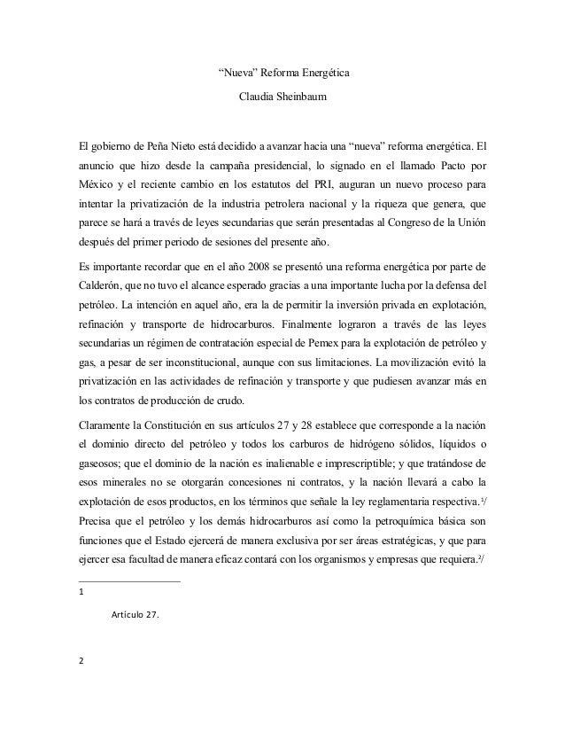 """""""Nueva"""" Reforma Energética Claudia Sheinbaum El gobierno de Peña Nieto está decidido a avanzar hacia una """"nueva"""" reforma e..."""