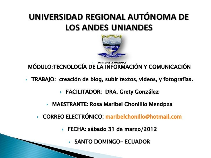 UNIVERSIDAD REGIONAL AUTÓNOMA DE            LOS ANDES UNIANDES                                   INSTITUTOS DE POSGRADOS ...