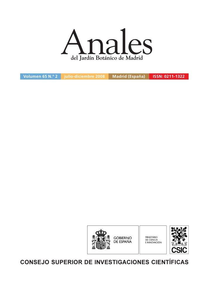 Volumen 65 N.º 2   julio-diciembre 2008   Madrid (España)   ISSN: 0211-1322CONSEJO SUPERIOR DE INVESTIGACIONES CIENTÍFICAS