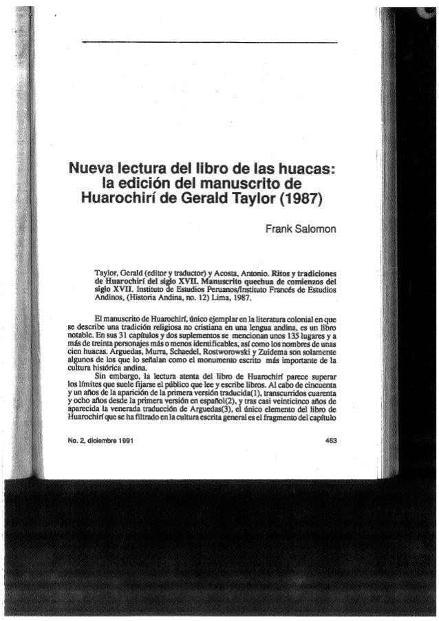 Nueva lectura del libro de las huacas huarochiri 1987