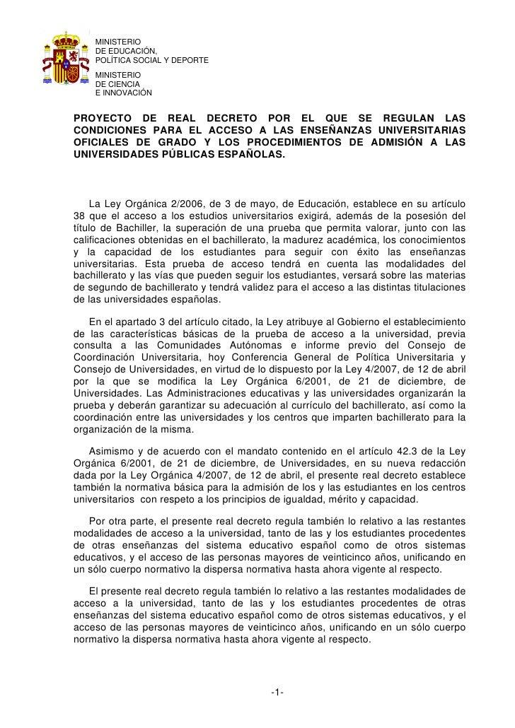 MINISTERIO    DE EDUCACIÓN,    POLÍTICA SOCIAL Y DEPORTE    MINISTERIO    DE CIENCIA    E INNOVACIÓNPROYECTO DE REAL DECRE...
