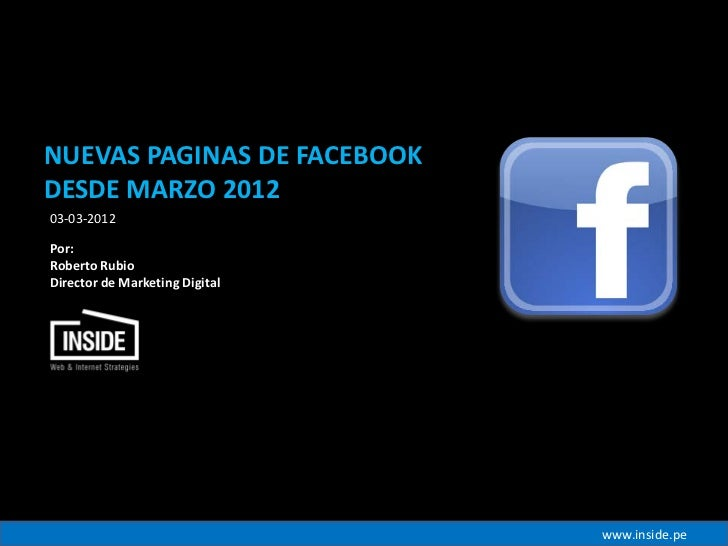 Nuevas paginas facebook desde marzo 2012