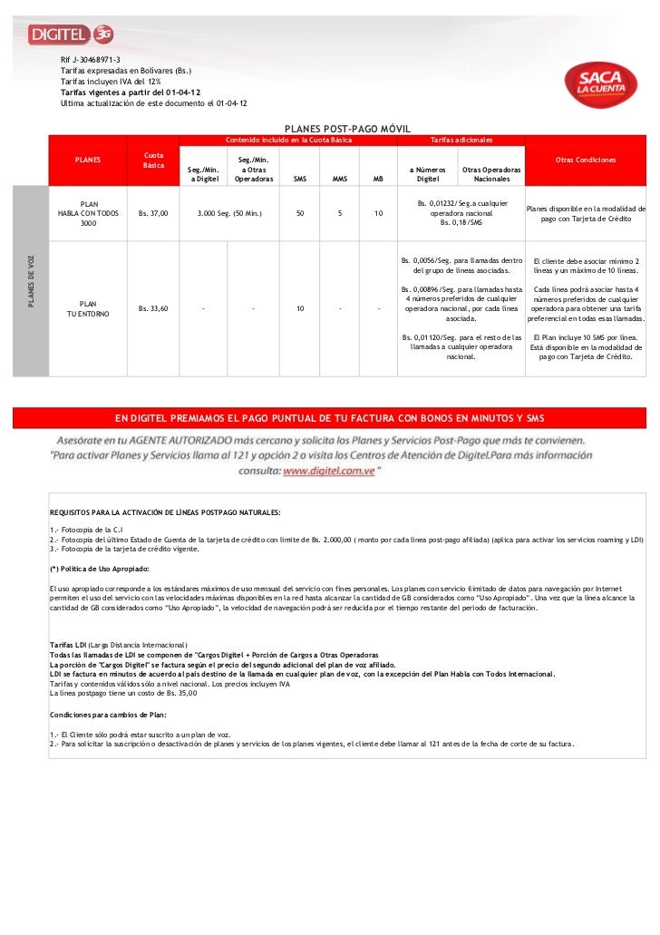 Rif J-30468971-3                   Tarifas expresadas en Bolívares (Bs.)                   Tarifas incluyen IVA del 12%   ...
