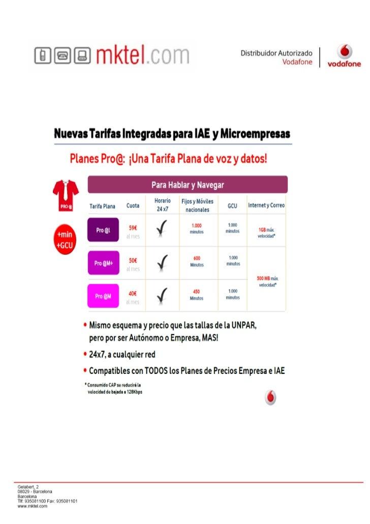 Nuevas Tarifas Vodafone Iae
