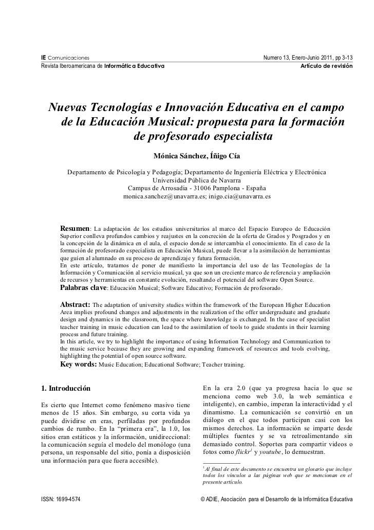 Nuevas tecnologías e innovación educativa en el campo de la educación musical: propuesta para la formación de profesorado especialista