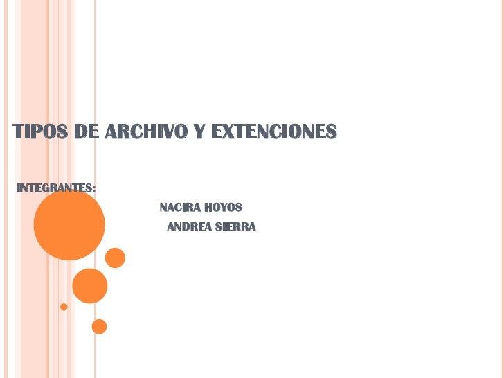 TIPOS DE ARCHIVO Y EXTENCIONES<br />INTEGRANTES:<br />                                      NACIRA HOYOS<br />            ...