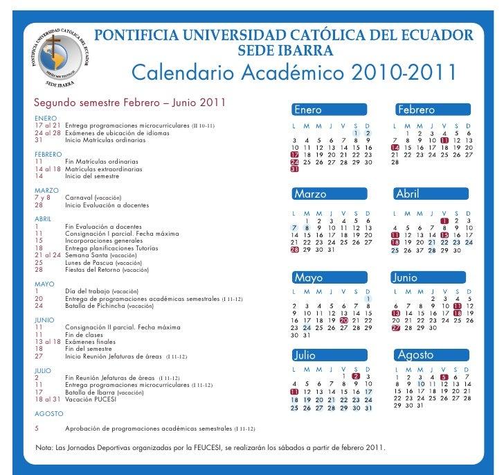 Calendario Académico febrero-Junio 2011