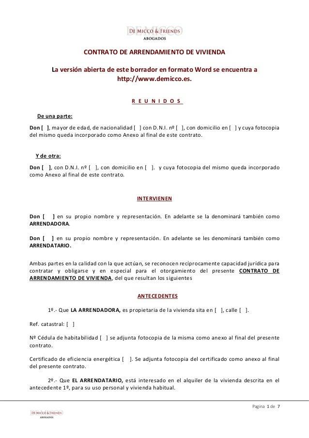 Contrato De Renta De Casa En Espanol