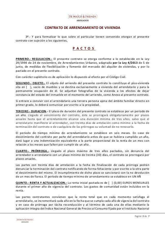 De micco friends modelo contrato de arrendamiento de for Alquiler de viviendas