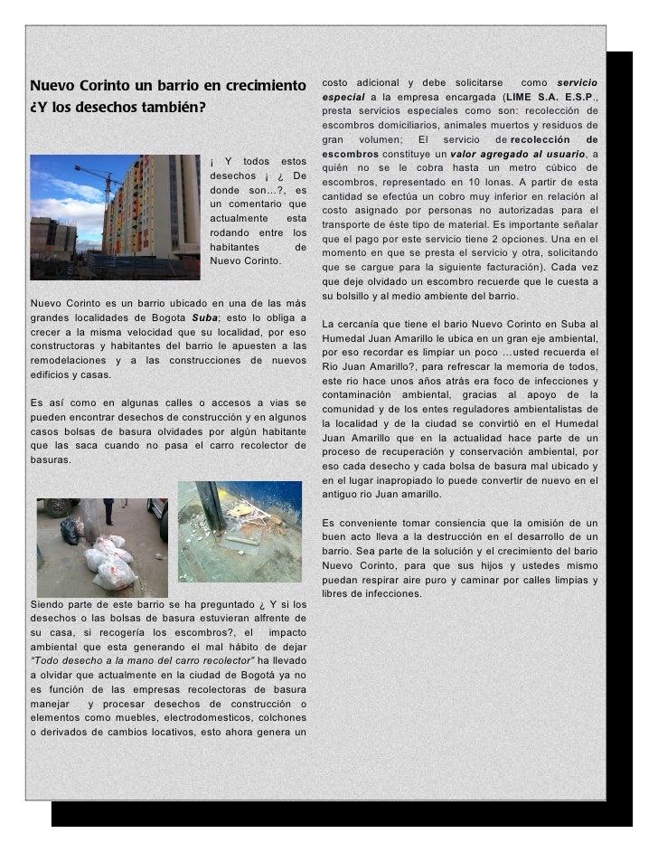 Nuevo Corinto un barrio en crecimiento                     costo adicional y debe solicitarse          como servicio      ...
