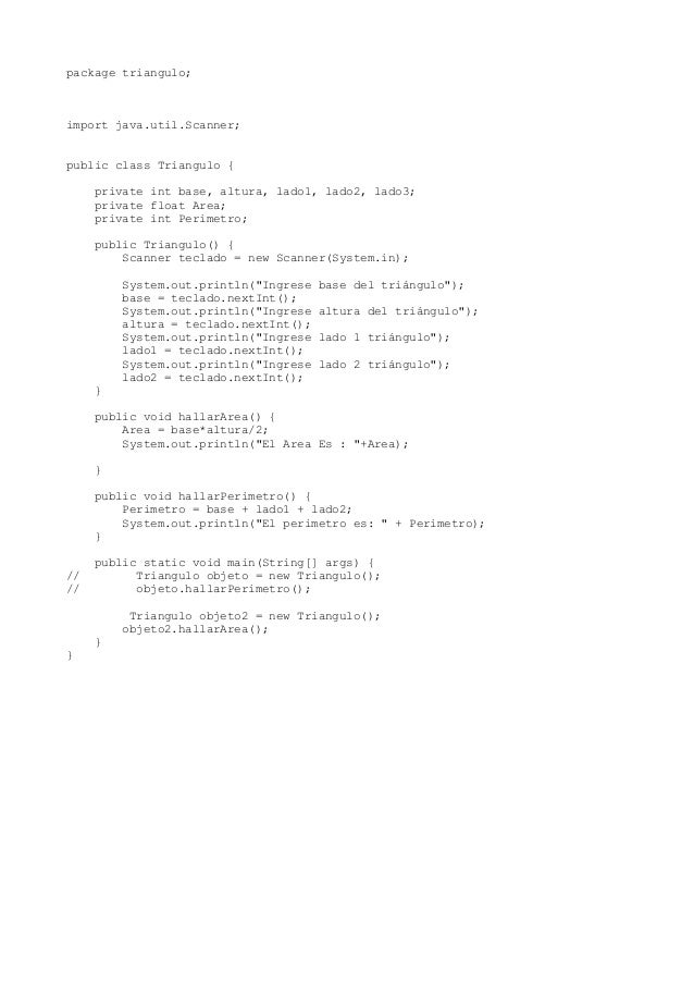 package triangulo; import java.util.Scanner; public class Triangulo { private int base, altura, lado1, lado2, lado3; priva...