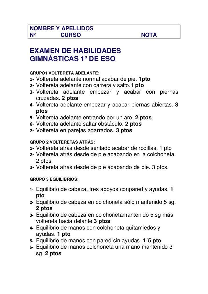 NOMBRE Y APELLIDOSNº      CURSO                                  NOTAEXAMEN DE HABILIDADESGIMNÁSTICAS 1º DE ESOGRUPO1 VOLT...