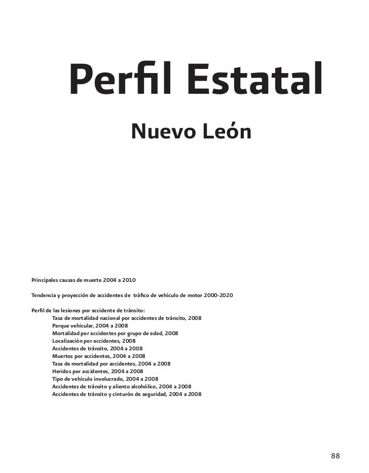 Perfil Estatal                                       Nuevo LeónPrincipales causas de muerte 2004 a 2010Tendencia y proyecci...