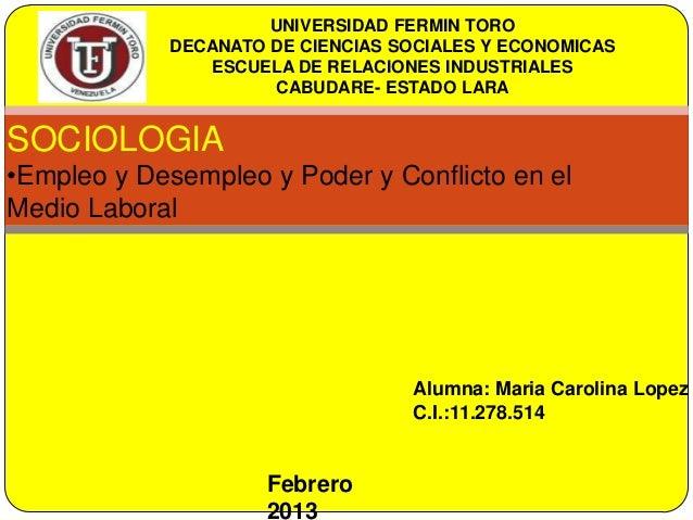 UNIVERSIDAD FERMIN TORO            DECANATO DE CIENCIAS SOCIALES Y ECONOMICAS               ESCUELA DE RELACIONES INDUSTRI...