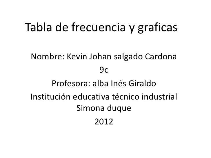 Tabla de frecuencia y graficas Nombre: Kevin Johan salgado Cardona                    9c       Profesora: alba Inés Girald...