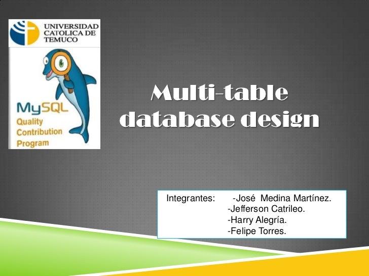 Multi-tabledatabase design   Integrantes:    -José Medina Martínez.                  -Jefferson Catrileo.                 ...