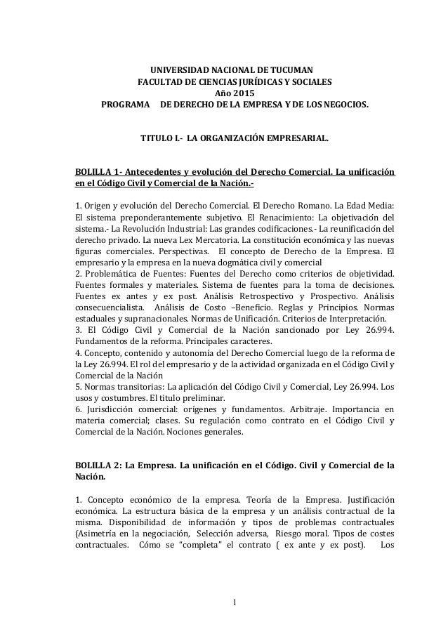 UNIVERSIDAD NACIONAL DE TUCUMAN FACULTAD DE CIENCIAS JURÍDICAS Y SOCIALES Año 2015 PROGRAMA DE DERECHO DE LA EMPRESA Y DE ...