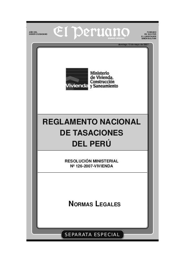 NORMAS LEGALES El Peruano Lima, domingo 13 de mayo de 2007 Pág. 345123 SEPARATA ESPECIAL domingo 13 de mayo de 2007 AÑO DE...
