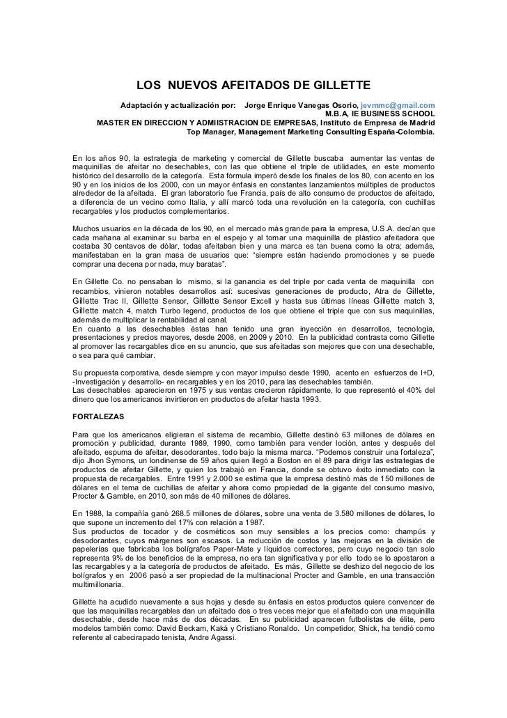 LOS NUEVOS AFEITADOS DE GILLETTE              Adaptación y actualización por:                                        Jorge...
