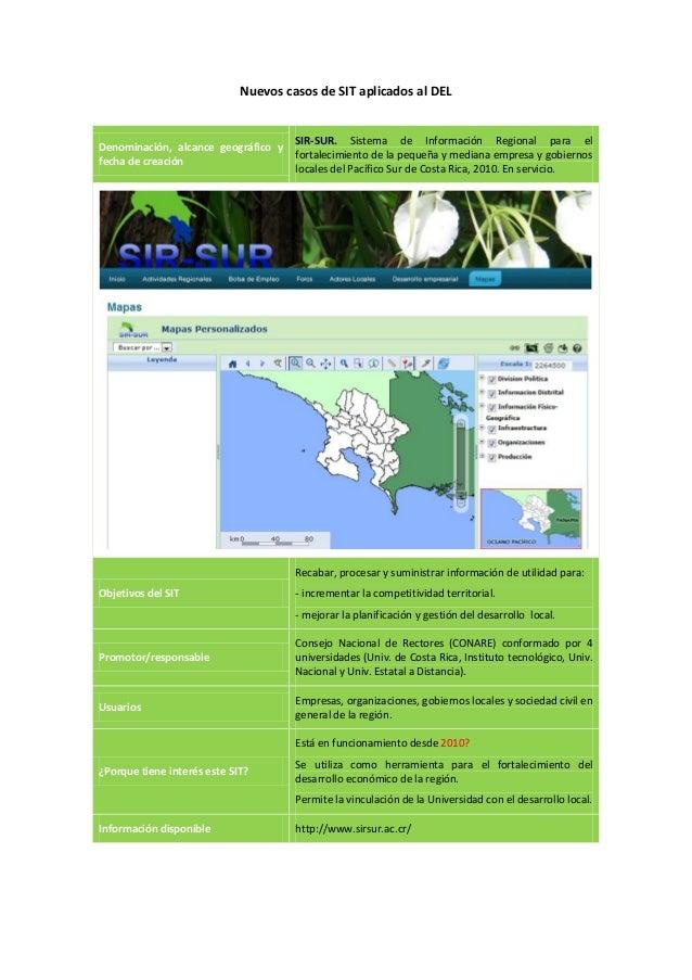 Nuevos casos de SIT aplicados al DEL                                      SIR-SUR. Sistema de Información Regional para el...