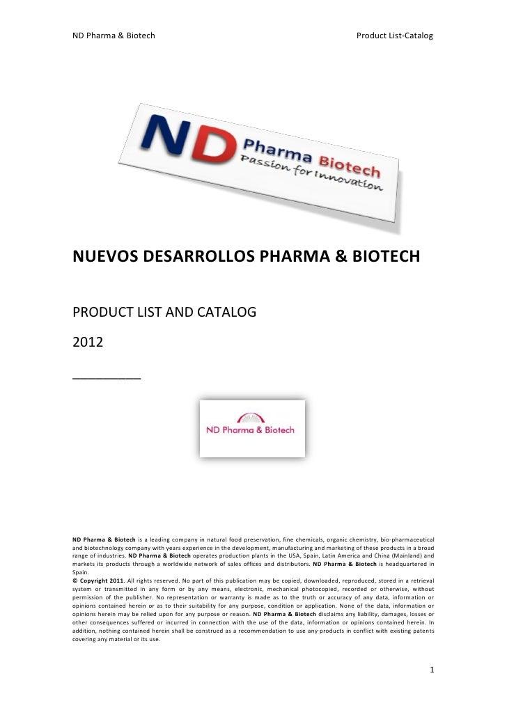 Nuevos desarrollos pharma & biotech 2011 product list and catalog