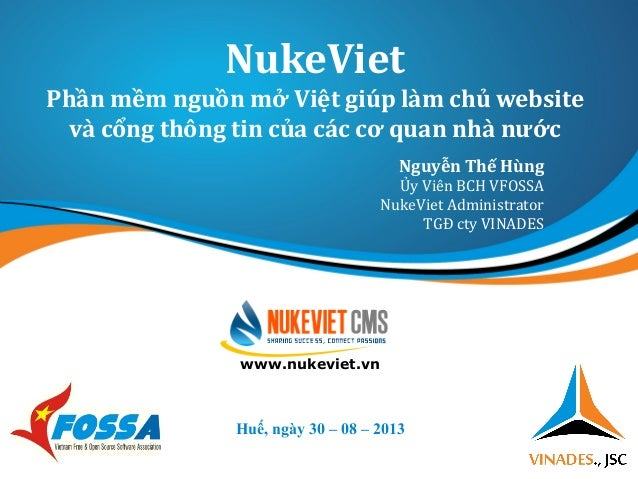 NukeViet - Phần mềm nguồn mở Việt giúp làm chủ website và cổng thông tin của các cơ quan nhà nước