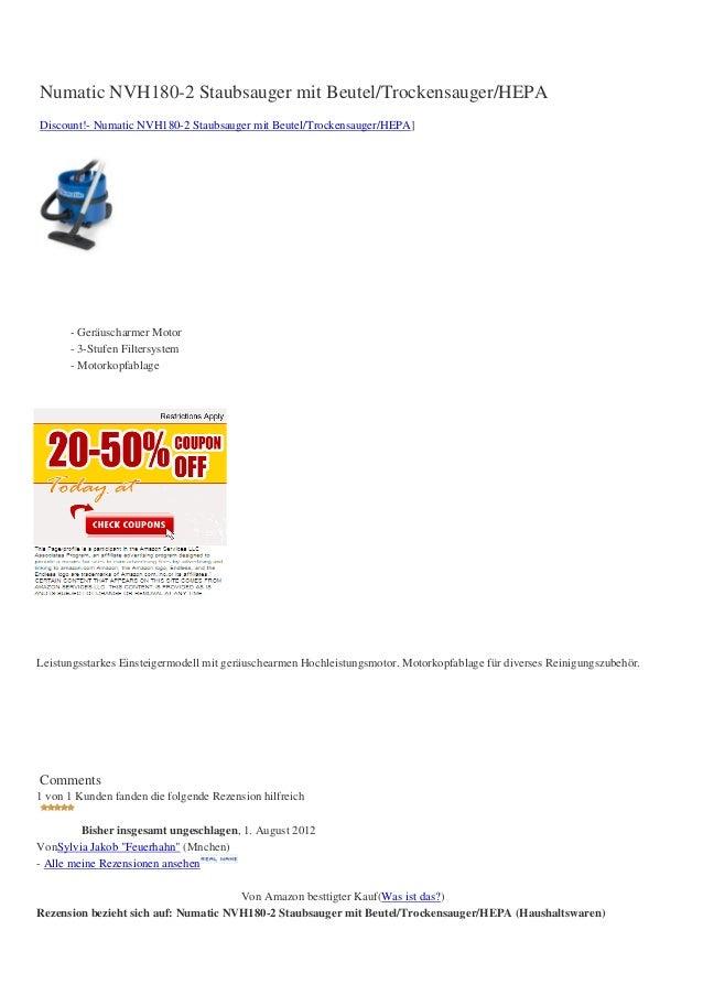 Numatic NVH180-2 Staubsauger mit Beutel/Trockensauger/HEPADiscount!- Numatic NVH180-2 Staubsauger mit Beutel/Trockensauger...