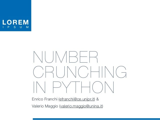 Number Crunching in Python