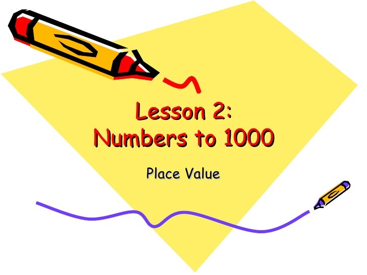 Numbers To 1000 L2 Place Value