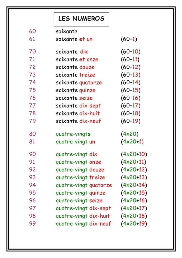 LES NUMEROS 60 61  soixante soixante et un  (60+1)  70 71 72 73 74 75 76 77 78 79  soixante-dix soixante et onze soixante ...