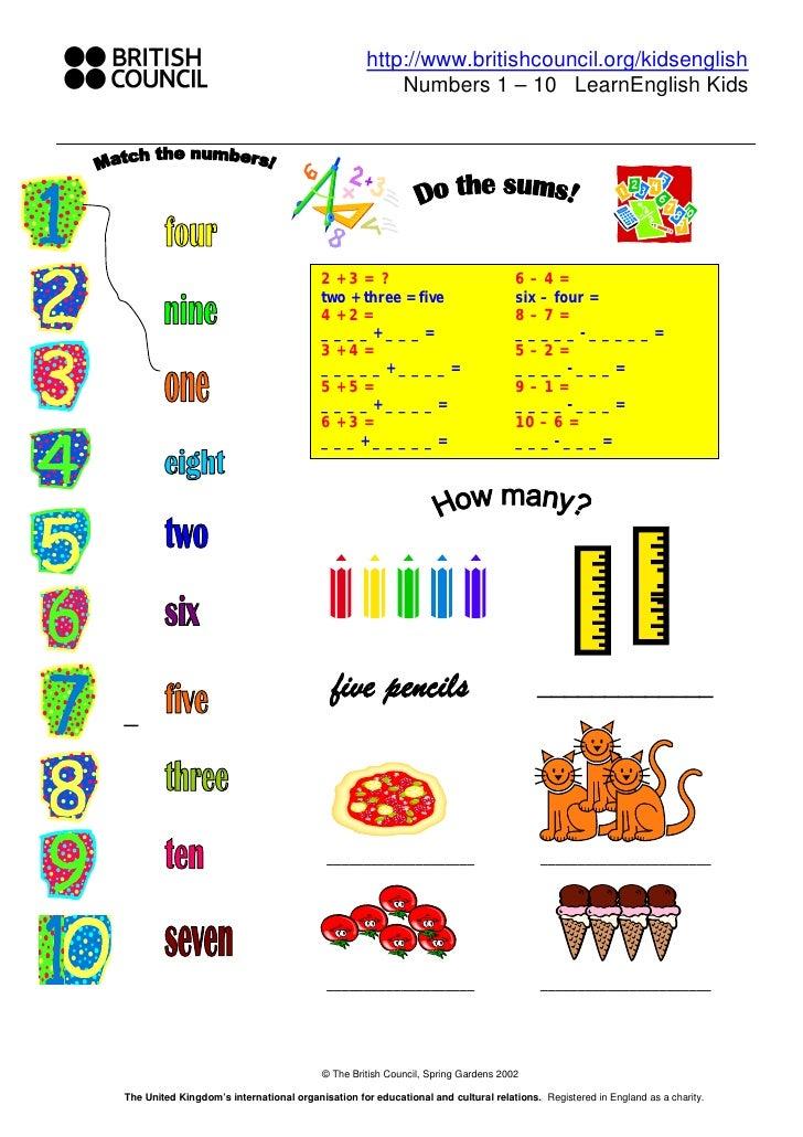 http://www.britishcouncil.org/kidsenglish                                                        Numbers 1 – 10 LearnEngli...