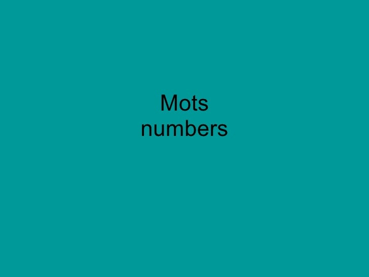 Mots numbers