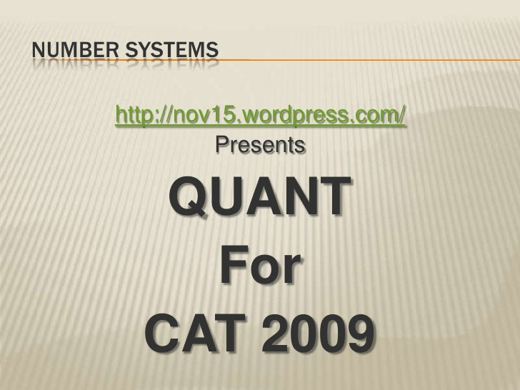 Number Systems Theory for CAT 2009 Quant