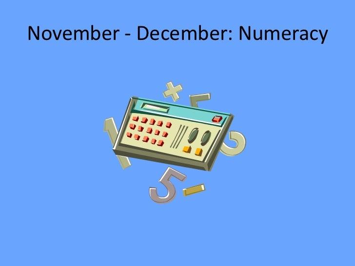 Numeracy November/ December