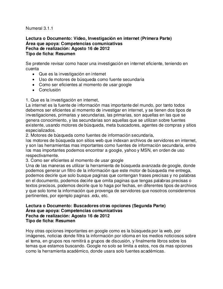 Numeral 3.1.1Lectura o Documento: Video, Investigación en internet (Primera Parte)Área que apoya: Competencias comunicativ...