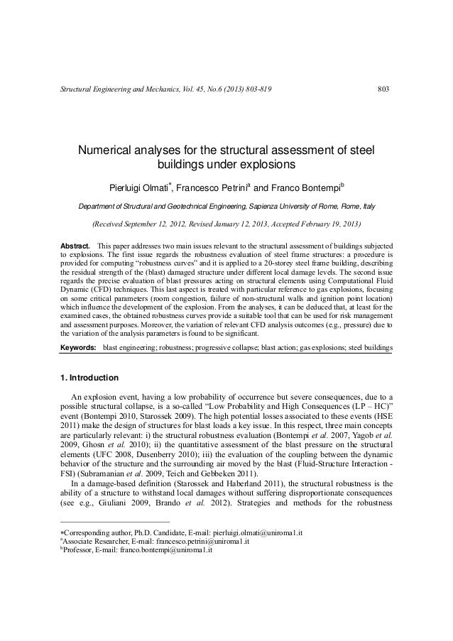 Structural Engineering and Mechanics, Vol. 45, No.6 (2013) 803-819                                        803     Numerica...