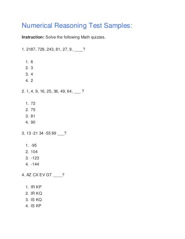 Numerical reasoning test samples
