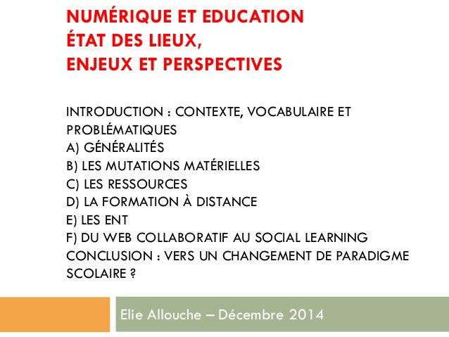 Numérique et éducation (octobre 2014)