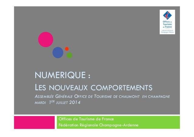 NUMERIQUE : LES NOUVEAUX COMPORTEMENTS ASSEMBLÉE GÉNÉRALE OFFICE DE TOURISME DE CHAUMONT EN CHAMPAGNE MARDI 1ER JUILLET 20...