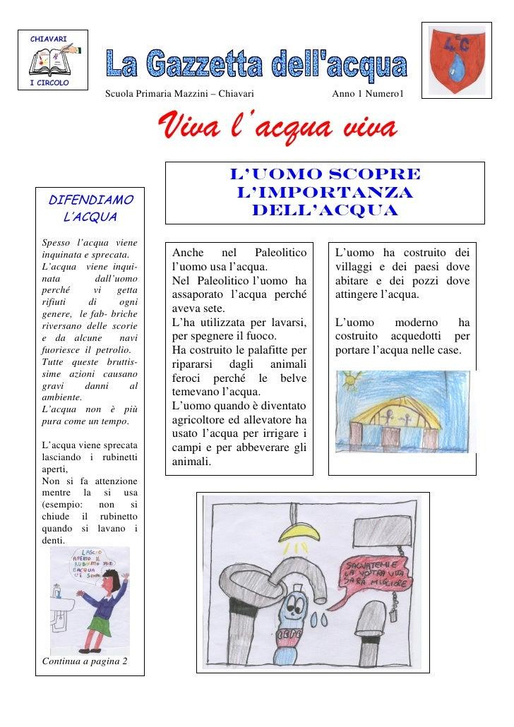 Scuola Primaria Mazzini – Chiavari             Anno 1 Numero1                            Viva l'acqua viva                ...
