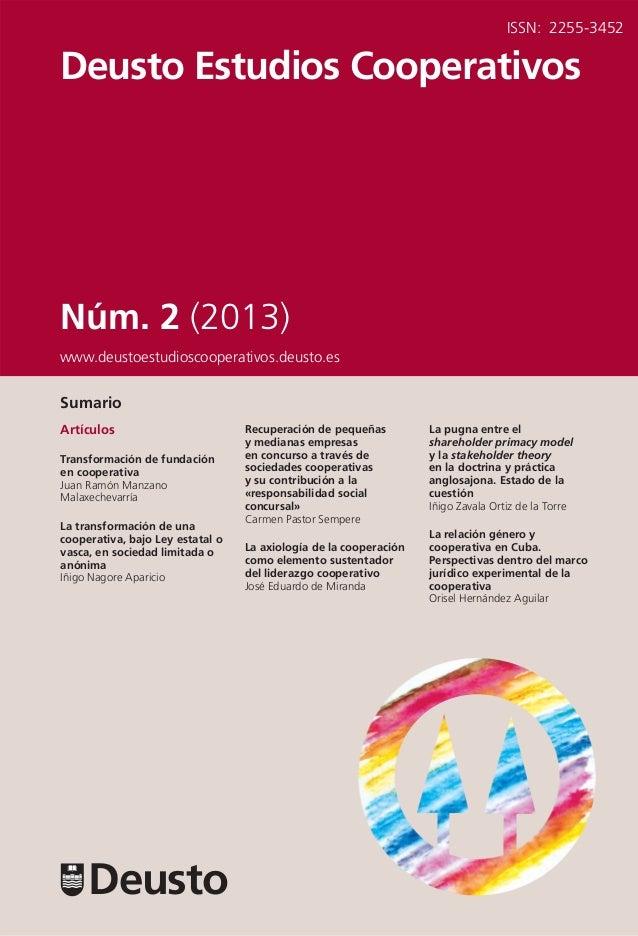 Revista Deusto Estudios Cooperativos. Número 2 (2013)