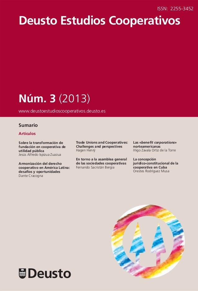 Revista Deusto Estudios Cooperativos. Número 3 (2013)