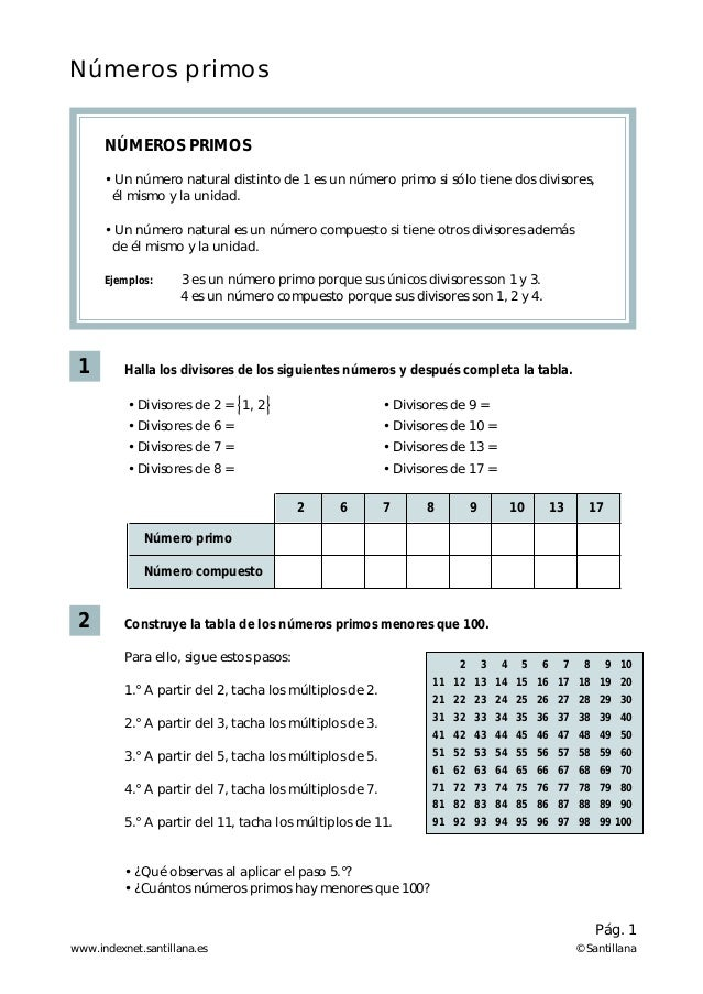 Números primos      NÚMEROS PRIMOS      • Un número natural distinto de 1 es un número primo si sólo tiene dos divisores, ...