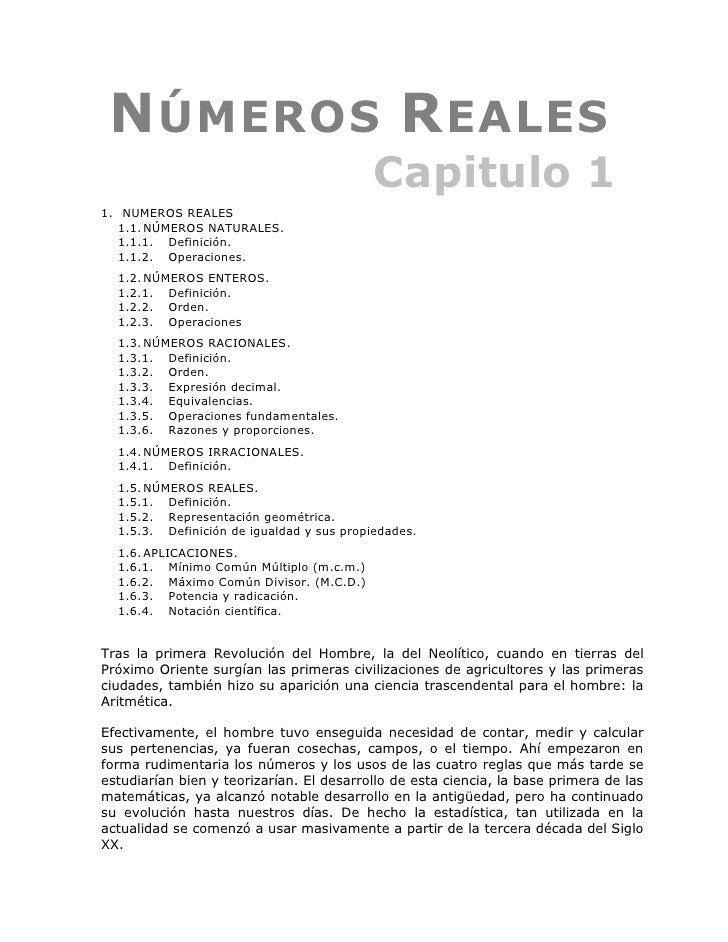 N ÚMEROS R EALES                                            Capitulo 1 1. NUMEROS REALES    1.1. NÚMEROS NATURALES.    1.1...