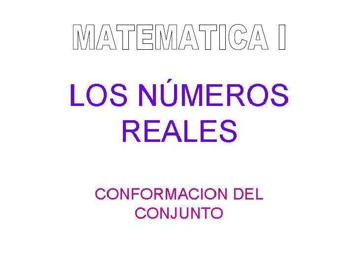 1 - Números Reales - Matemática - Instituto ISIV