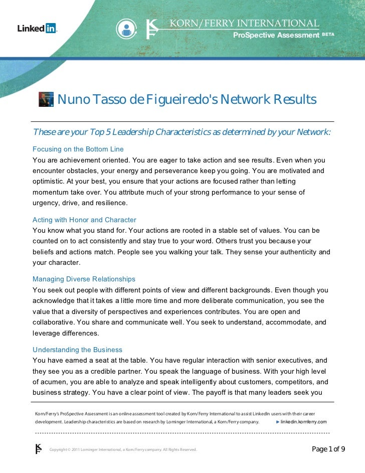 ProSpective Assessment           Nuno Tasso de Figueiredos Network ResultsThese are your Top 5 Leadership Characteristics ...