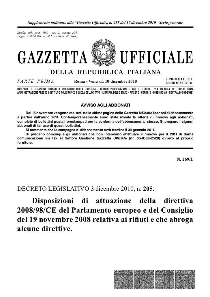 """Supplemento ordinario alla """"Gazzetta Ufficiale"""" n. 288 del 10 dicembre 2010 - Serie generaleSpediz. abb. post. 45% - art. 2..."""