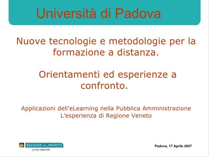 Nuove tecnologie e metodologie per la formazione a distanza.