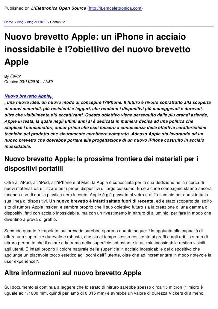 Published on LElettronica Open Source (http://it.emcelettronica.com)Home > Blog > blog di Edi82 > ContenutoNuovo brevetto ...