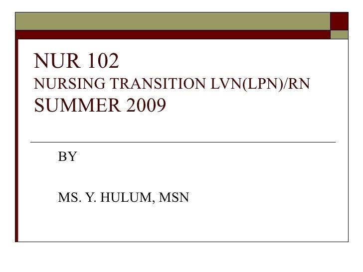 n u r 102 nursing transition